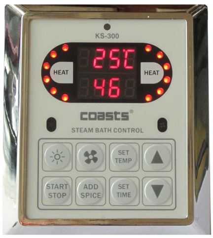 Parní generátor, vyvíječ páry pro saunu KSB-240CD s ovládacími panely KS-300 a KS30A, 380V