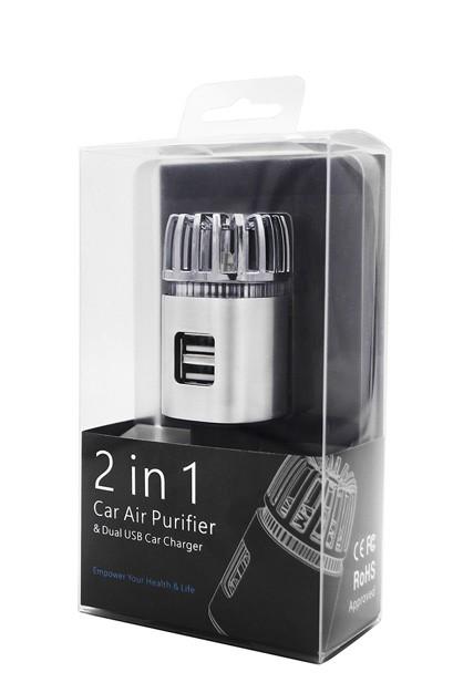 Ionizátor a čistička vzduchu do auta ION JO-6291 s ozonizátorem a DUAL USB - stříbrná