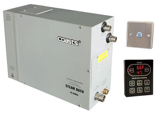 Parní generátor, vyvíječ páry pro saunu KSB-75CD s ovládacími panely KS-320A a KS30A