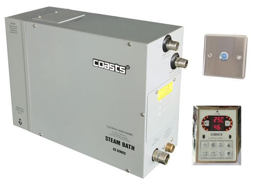 Parní generátor, vyvíječ páry pro saunu KSB-105CD s ovládacími panely KS-300 a KS30A, 380V