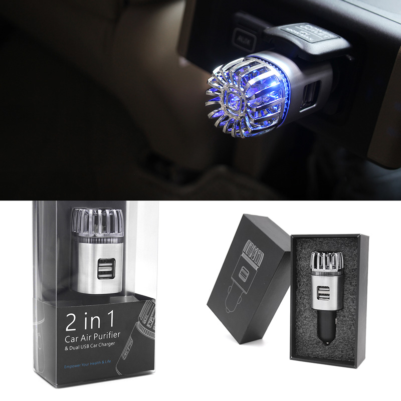 Ionizátor a čistička vzduchu do auta ION JO-6291 s ozonizátorem a DUAL USB - zlatá